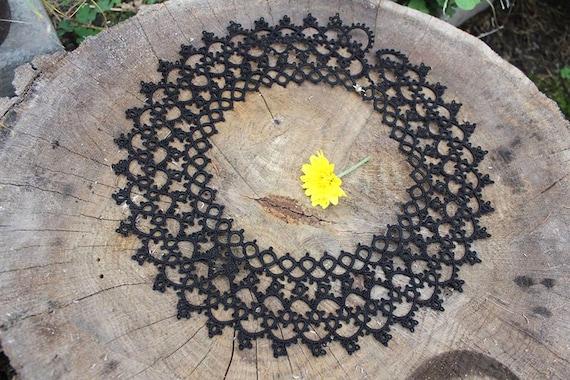 Vintage Black lace tatting collar Detachable lace… - image 4