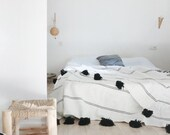 Moroccan blanket, Moroccan Pompom Blanket,bedroom blanket,moroccan throw blanket,pompom blanket,Pom Poms Bed Cover White with Black Stripes