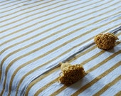 Moroccan blanket, Moroccan Pompom Blanket,bedroom blanket,moroccan throw blanket,pompom Bed Cover Ivory White and Yellow Mustard Stripes