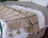 Moroccan blanket, Moroccan Pompom Blanket,bedroom blanket,moroccan throw blanket,pompom blanket,Pom Poms Bed Cover Tan with Black Stripes