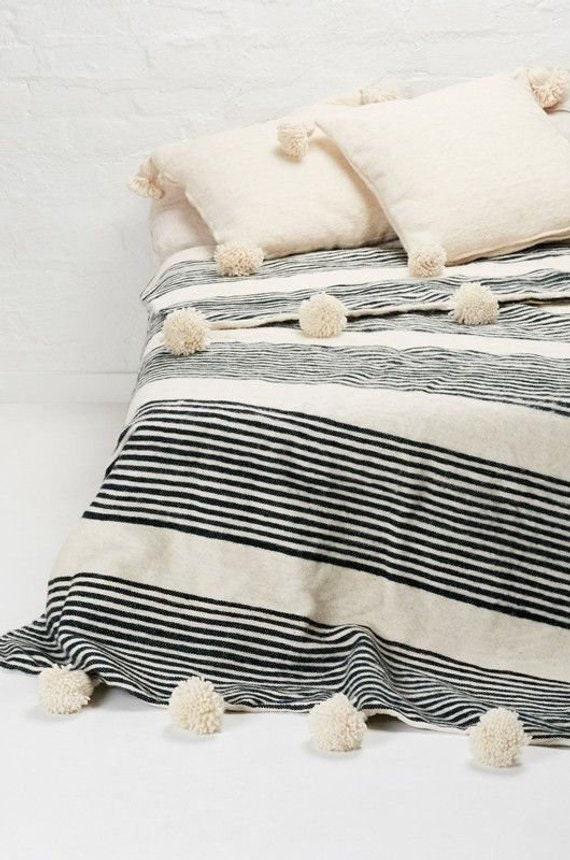 Moroccan blanket, Moroccan Pompom Blanket,bedroom blanket,moroccan throw  blanket,pompom blanket, Bed Cover Ivory White and Black Stripes