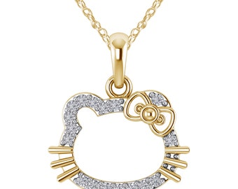 27e024393 0.15 CT Round Cut Diamond 14K Yellow Gold Over Hello Kitty Pendant 925  Sterling Silver