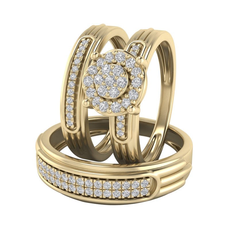 0.50 ct Round Diamond Mens Cluster Engagement Wedding Ring 14K White Gold Over