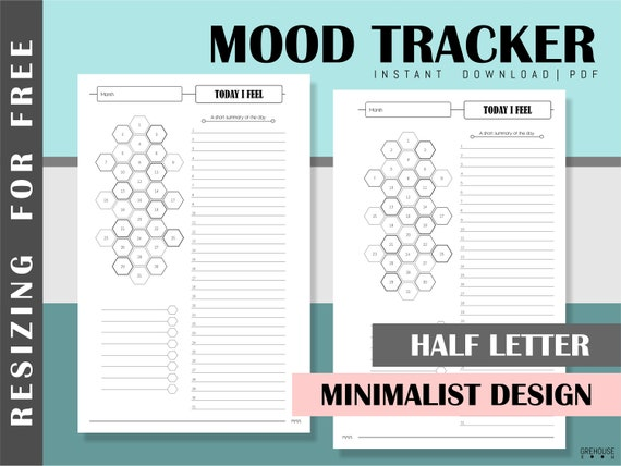 graphic regarding Free Mood Tracker Printable identify Temper tracker Printable planner Fifty percent letter inserts Psychological health and fitness planner internet pages Self treatment planner Health and fitness minimalist planner 2019 schedule PDF