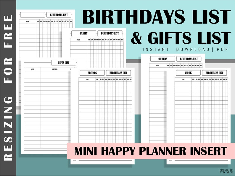 image regarding Birthday List Printable referred to as Birthday tracker Reward record Printable Mini Content Planner inserts PDF 50 percent letter inserts Necessary dates keeper Birthdays checklist Lifestyle planner