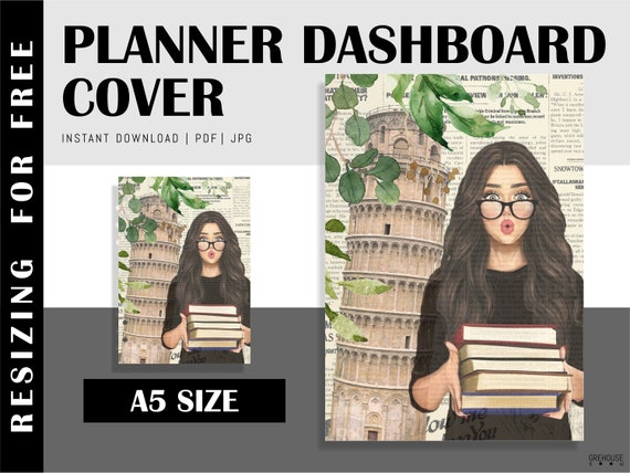 Printable A5 Planner Dashboard Digital planner inserts Journal cover  Filofax A5 Student planner cover Notebook cover Instant download PDF
