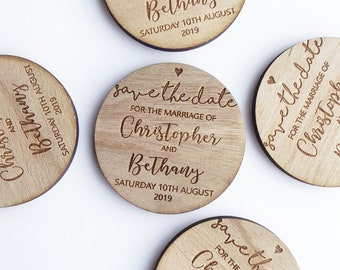 Personalised Wedding Save the Date Invitations, Wooden Fridge Magnet Save the Dates, Rustic Wedding Cards, Personalized Save the Evening