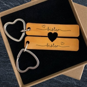 Pair of Keyrings Leather Engraved Best Friends Distance Travelling Gift Tag