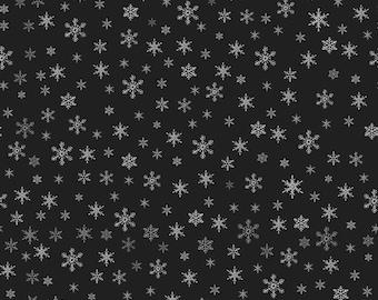 1 Yard Vintage Christmas Fabric Cotton Holly on Black