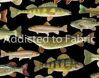 Fishing Fabric by the Yard or Half Yard, Lakeside Cabin, Timeless Treasures, Trout, Bass, Salmon