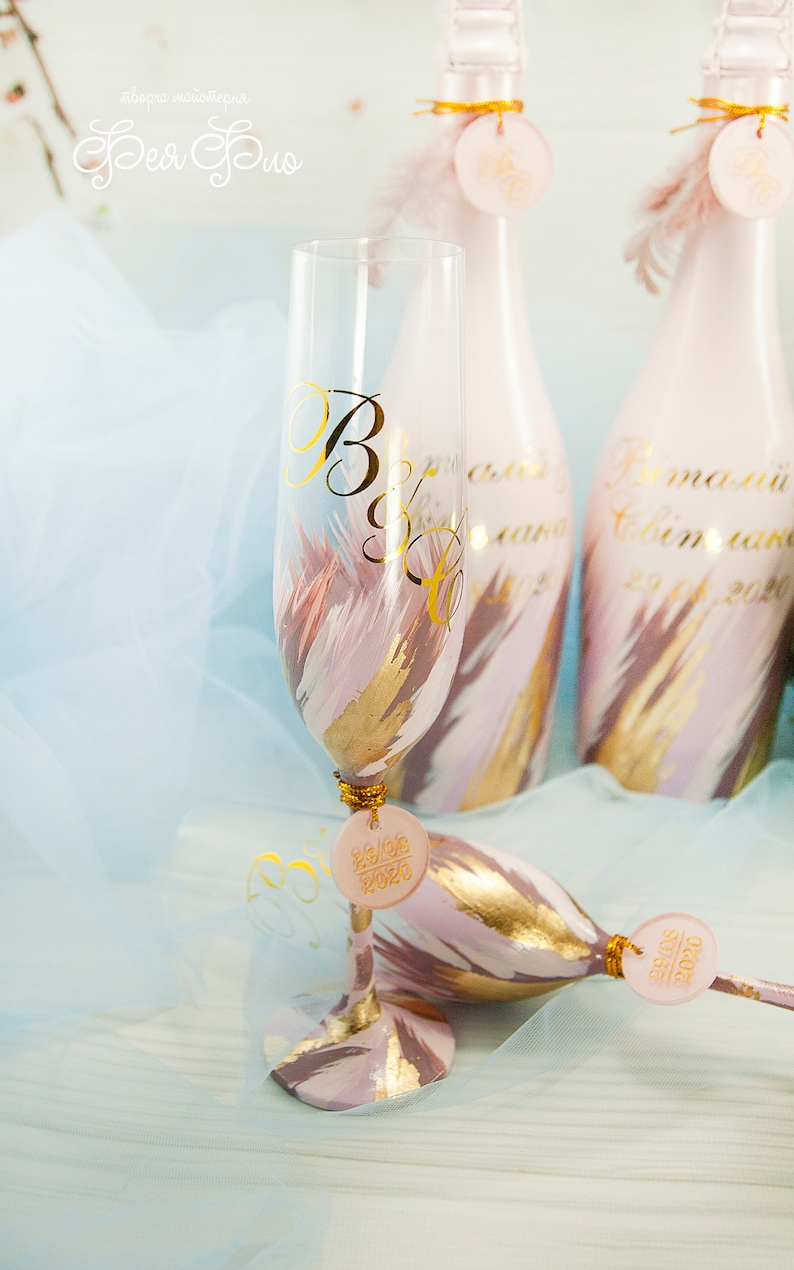 Flûtes de mariage personnalisées Blush Purple verres de champagne Rose lunettes brunes Blush rose et or mariage classique toasting flûtes Ensemble de 2