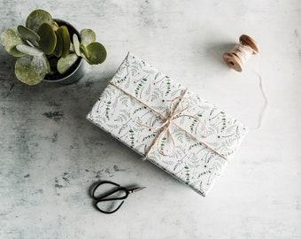 Leaves Gift Wrap Set of 3 Illustrated Botanic Celebration Sheets