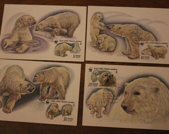 Polar bears - 4 postcards