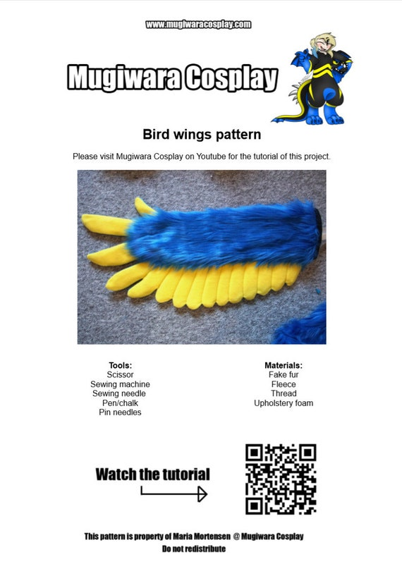 DIGITAL Bird Tail Pattern for Fursuits PDF Download