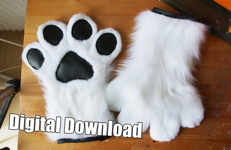 DIGITAL Toony Hand Paw Pattern for Fursuits  PDF Download image 0