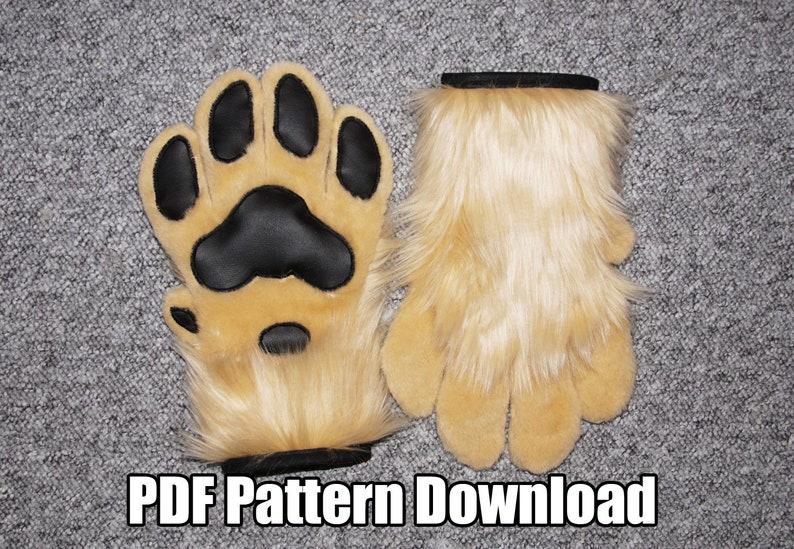DIGITAL Feral Hand Paw Pattern for Fursuits  PDF Download image 0