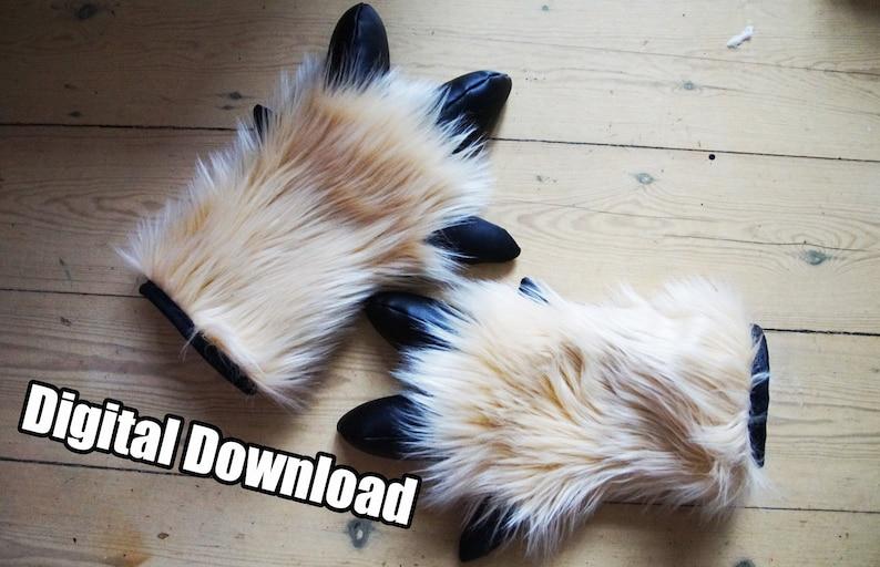DIGITAL Deer Hand Paw Pattern for Fursuits  PDF Download image 0