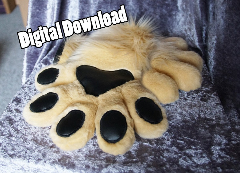 DIGITAL 5 Fingered Puffy Hand Paw Pattern for Fursuits  PDF image 0
