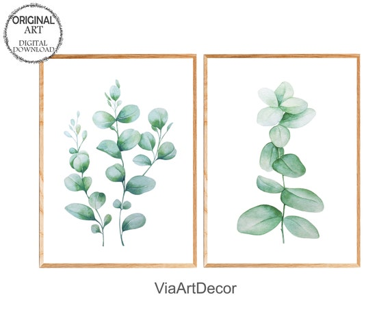 Set of 2 Eucalyptus Branches  Printable Wall Art  Digital Instant Download