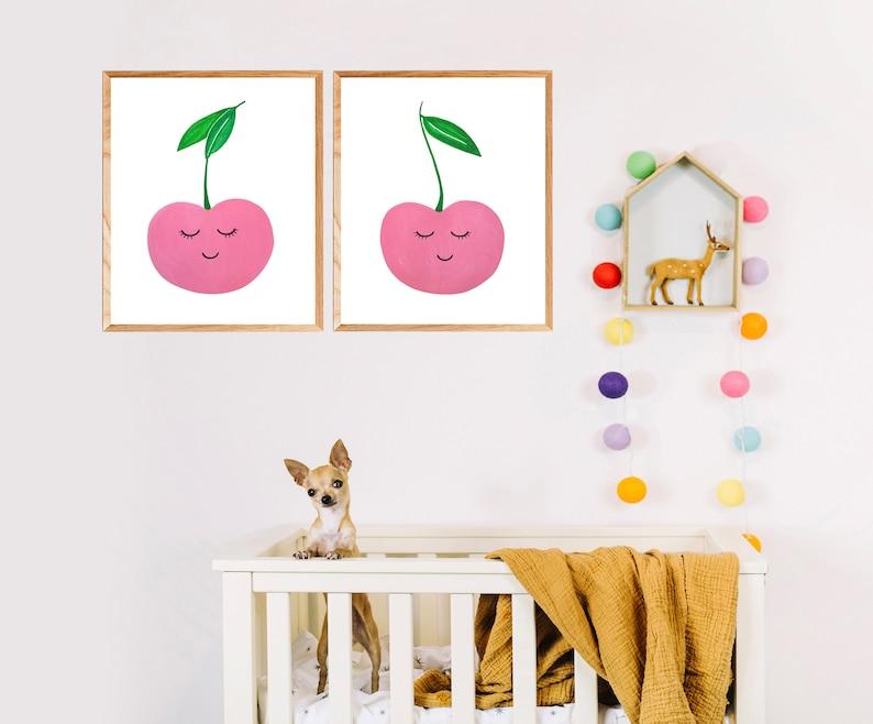 Cherries Wall art Set of 2 Print Pink nursery Printable Minimalist Girl room decor Kids Playroom fruit art Modern nursery Digital Download