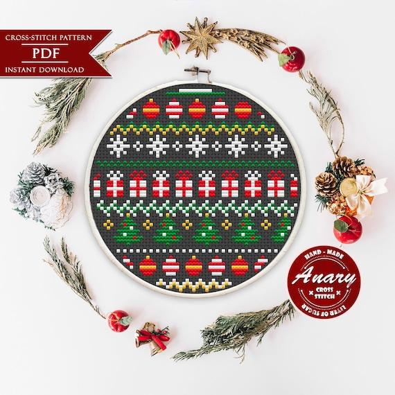 X Fair Isle Knitwear Scandi Baubles Christmas Cross Stitch Chart