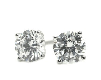 18399a02f Tiny Diamond Studs, Gold Studs, 1 Ct Round Cut Stud Diamond Earrings in Solid  14k 18k White Gold Screw Back Studs