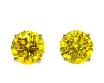 2 Ct Canary Yellow Round Earrings Studs Martini Real 14K Rose Gold Screw Back