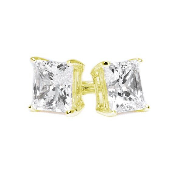 4CT Round Simulated Diamond 14K Yellow Gold Screwback Earrings