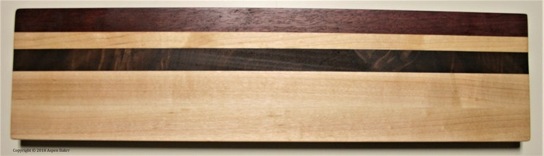 SALE and purple heart serving traycutting board walnut Maple 4.375 wide x 17.25