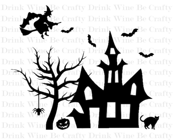 Halloween Haunted House Svg Cut File Svg File For Cricut Etsy