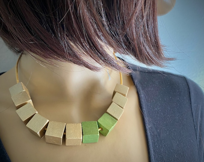 Green Gift for her Gold Hand Painted Wooden Cubes Short Necklace