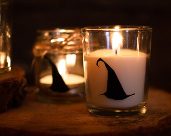 Favors Medium Bell Jar Wizard Hat Silhouette Candles Small Gift Wrapped in Rustic Box Favours Wax Fill Perfect for Wizard Weddings