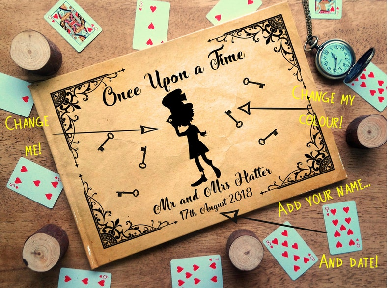 Photo Album Mad Hatter Alice in Wonderland Wedding Guestbook Silhouette Personalised Personalized  Scrapbook,Note Book Engagement,Birthday