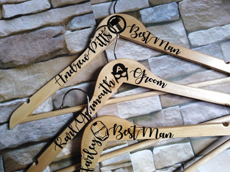 Creative Superhero Groomsmen Gift Idea, Superhero Wedding Hanger