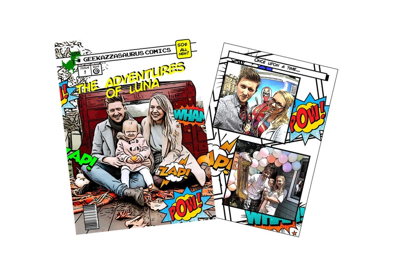 We crafted a book that lets you become the star of a comic of your own! You can customize your comic to suit your life's milestones, such as your birthday, first met, graduation, or your wedding, making it the perfect anniversary present!