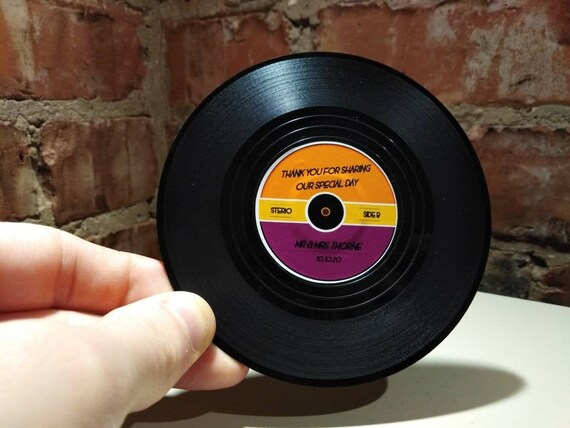 Record Vinyl Coasters Personalised Personalized Wedding Etsy