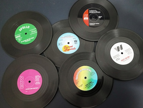 Record Vinyl Coasters Pack Of 4 And 6 Perfect Gift For Any Etsy