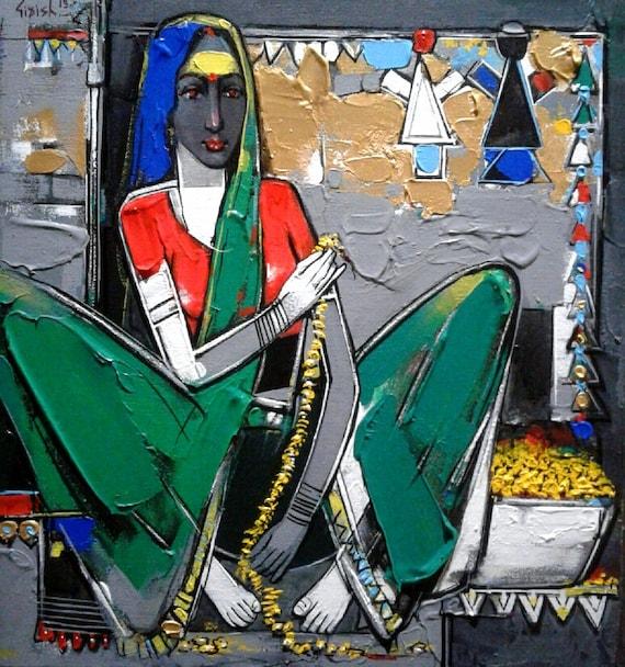 Girish Adannavar Pittura India Emergente Artista Di Fama Etsy