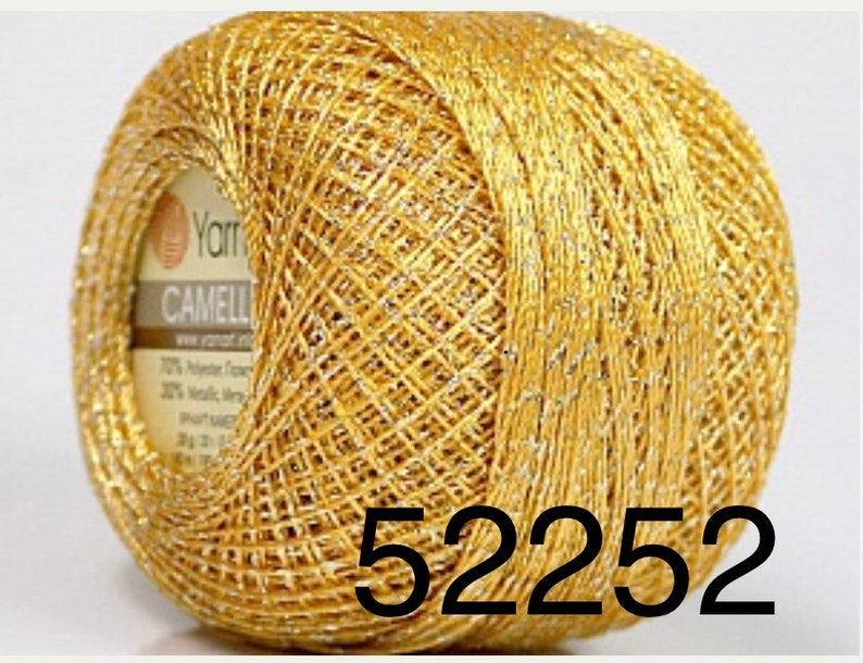 Cross stitch Gorgeous Colors 20g Embroidery,Edging Weight Size 0 Lace Gold w Silver Camellia YarnArt Metallic Shiny Crochet Thread