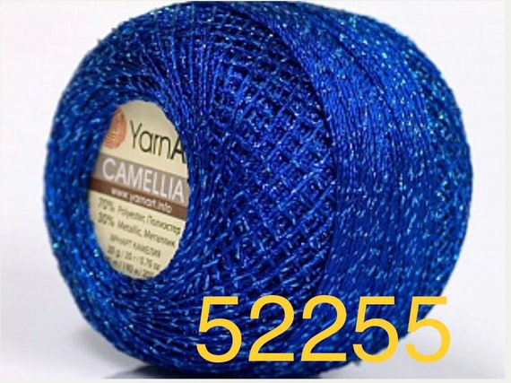 Cross stitch 20g Embroidery,Edging Gorgeous Colors Crochet Thread Weight Size 0 Lace Blue w Blue Camellia YarnArt Metallic Shiny