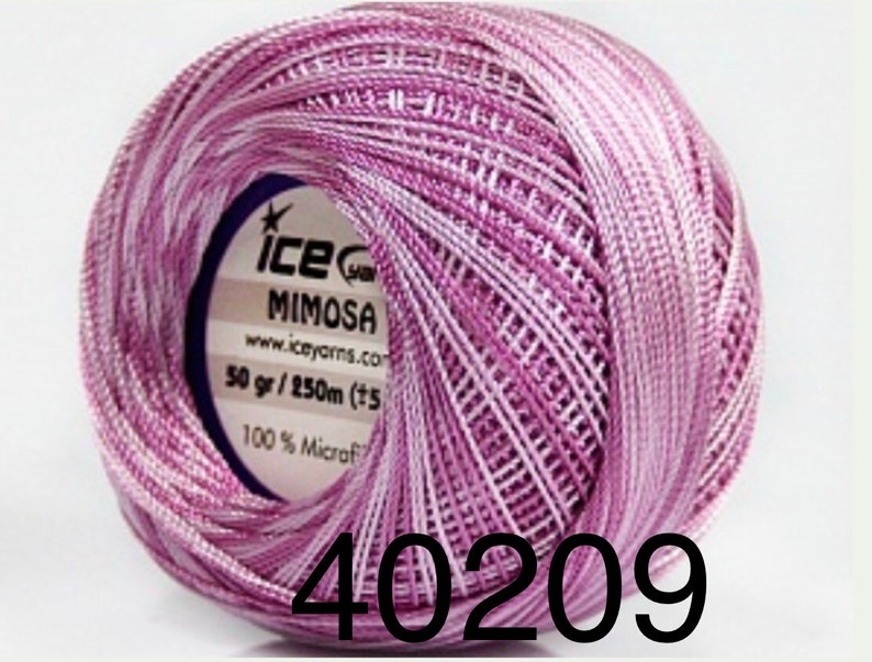 Fine Crochet NeedlePoint,Tatting Appliqu\u00e9s Variegated Microfiber Size 10 Thread 50g Mimosa by ICE Lilac Purple Shades Gorgeous Colors