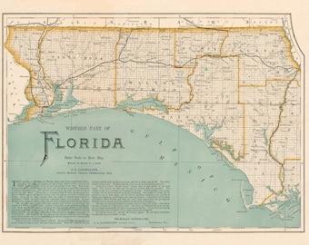 Map Western Florida.Florida Map Etsy