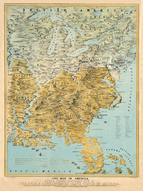 USA 1861 Map Print Produced From an Old, Vintage, Antique Map. Decorative  Map Wall Art. Free and Confederated slave states.