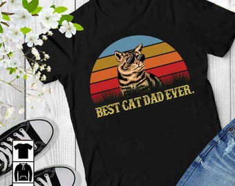 1dcfcd7b Vintage Best Cat Dad Ever Short-Sleeve Unisex T-Shirt, Father's Day Shirt  For Cat Dad