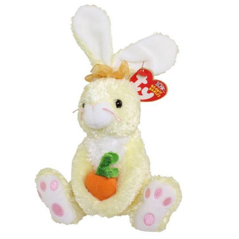 bdd2e709a14 TY Beanie Baby NIBBLIES the Yellow Bunny 6 inch