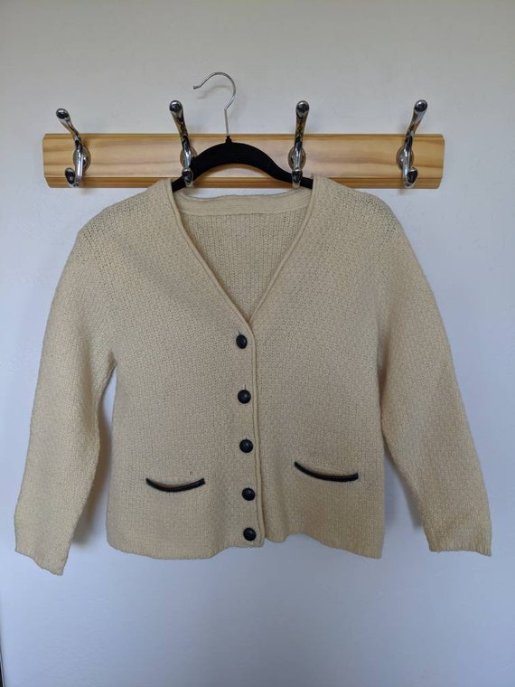 Vintage Navy Leather Accented Cardigan