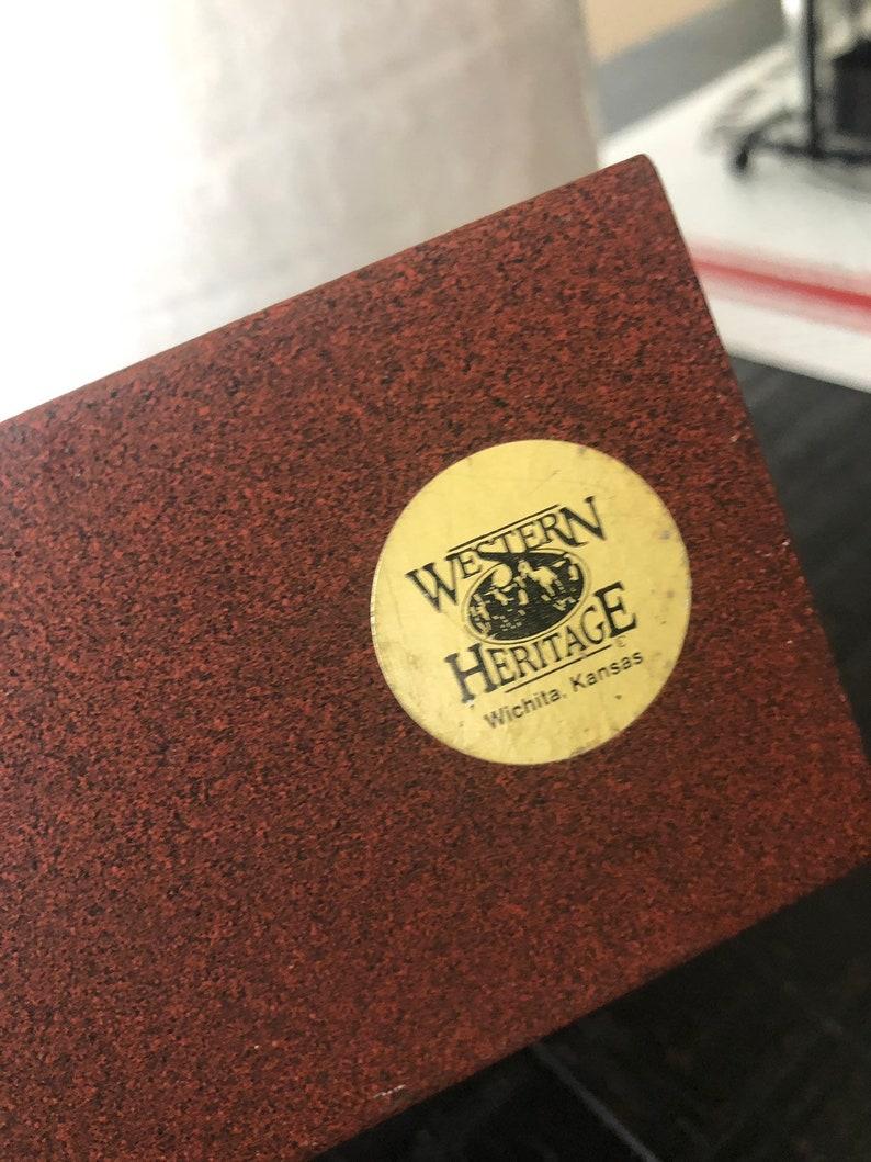 Vintage Rustic Western Heritage Horse Mare Rust Tone Metal Napkin Letter Holder Desk Table Decor