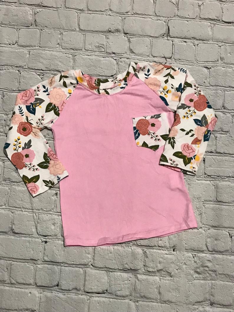 Pink Floral Raglan with pocket!