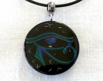 Rainbow Metallic Oil Slick Eye of Horus necklace