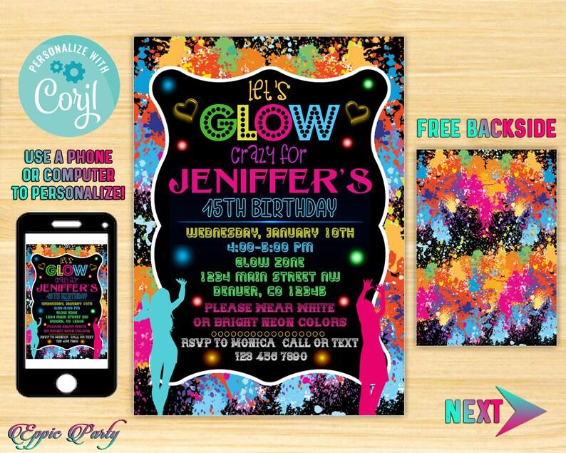 Glow Birthday Invitation, Neon Glow Birthday Party invitation, Glow In The  Dark Invitation, Blacklight Invitation, Neon Glow Invitation, PP6